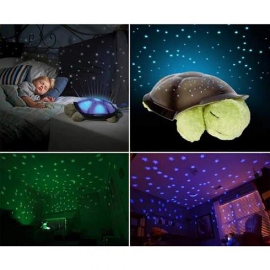 Lampa veghe proiector stele, broscuta, albastra, lumini si muzica - Articole copii - oferit de sellsell.ro